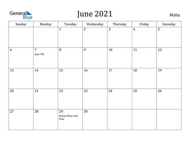 Image of June 2021 Malta Calendar with Holidays Calendar