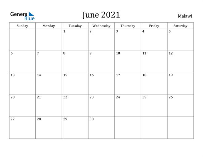 Image of June 2021 Malawi Calendar with Holidays Calendar