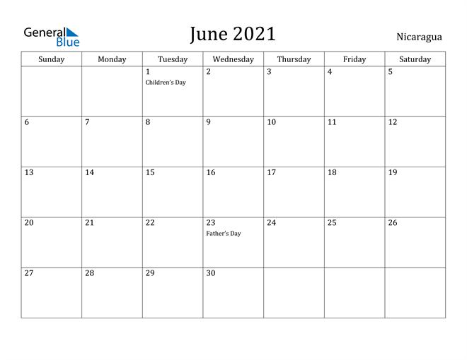 Image of June 2021 Nicaragua Calendar with Holidays Calendar