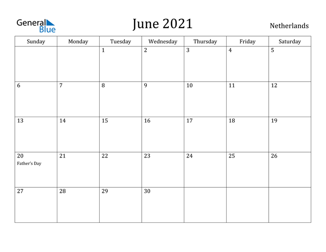 Image of June 2021 Netherlands Calendar with Holidays Calendar
