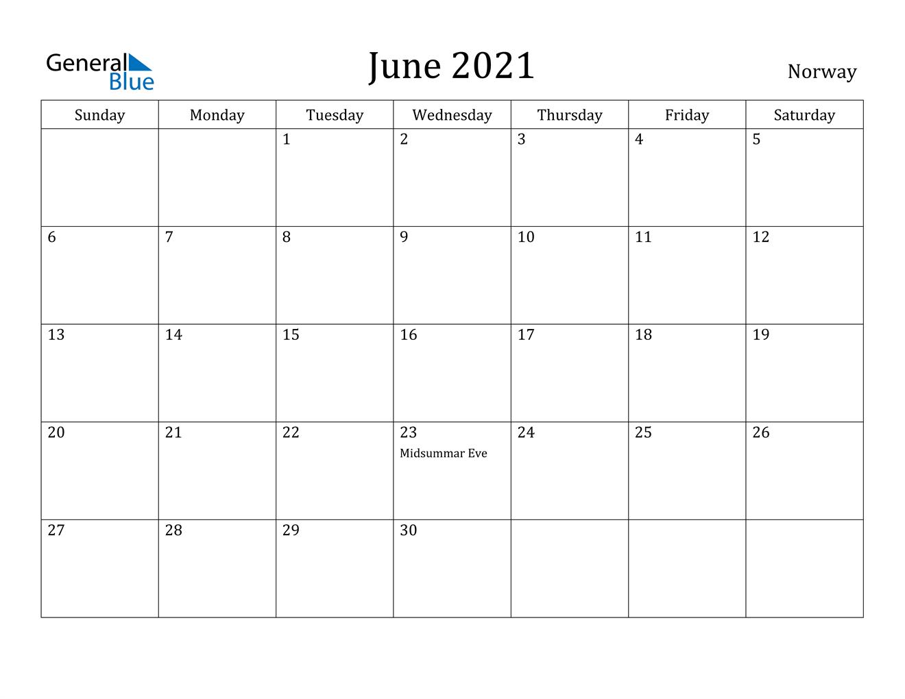June 2021 Calendar - Norway