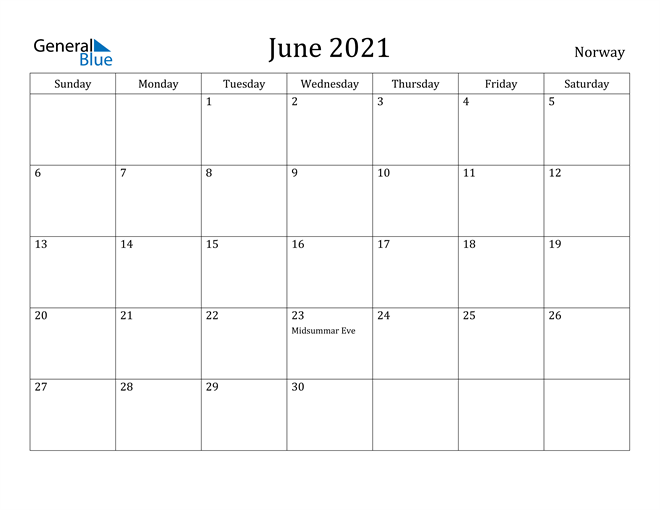 Image of June 2021 Norway Calendar with Holidays Calendar