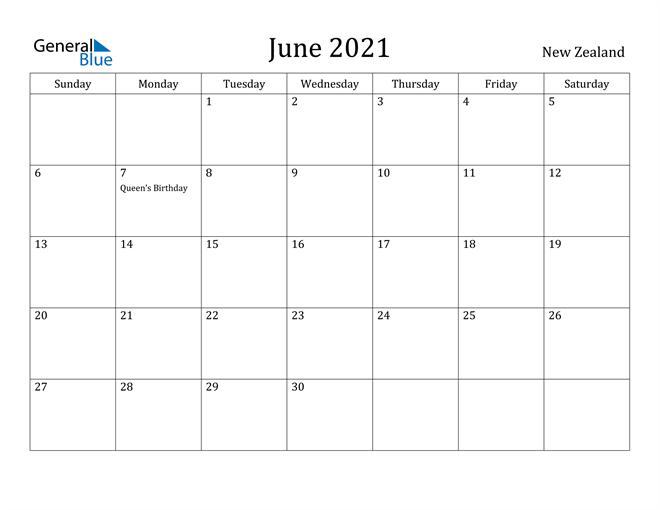 Image of June 2021 New Zealand Calendar with Holidays Calendar