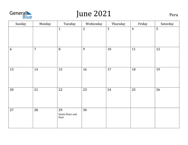 Image of June 2021 Peru Calendar with Holidays Calendar