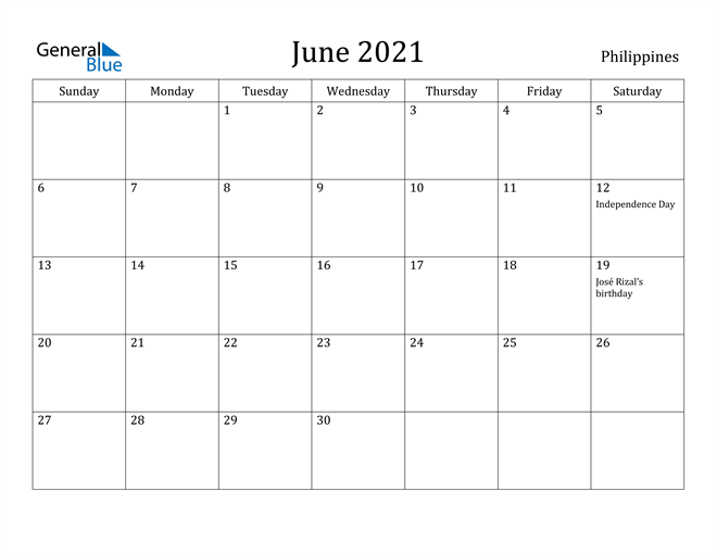 Image of June 2021 Philippines Calendar with Holidays Calendar