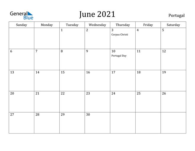 Image of June 2021 Portugal Calendar with Holidays Calendar