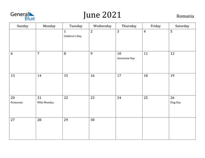 Image of June 2021 Romania Calendar with Holidays Calendar