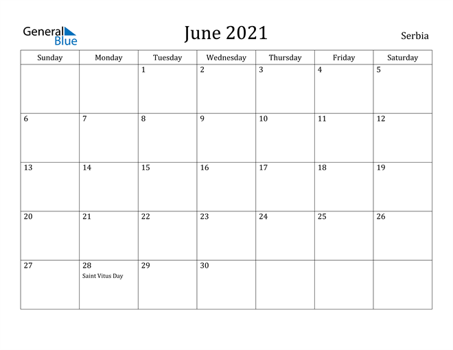 Image of June 2021 Serbia Calendar with Holidays Calendar