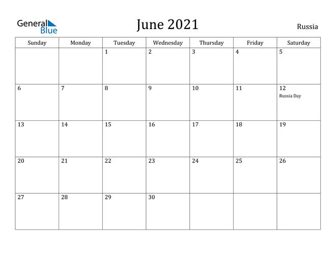 Image of June 2021 Russia Calendar with Holidays Calendar