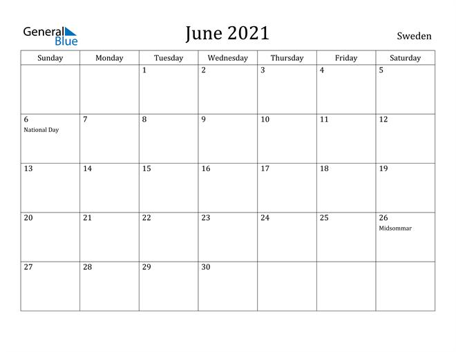 Image of June 2021 Sweden Calendar with Holidays Calendar