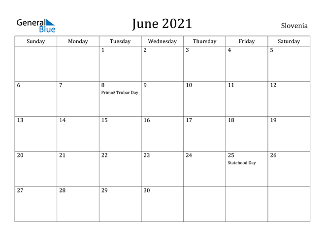 Image of June 2021 Slovenia Calendar with Holidays Calendar