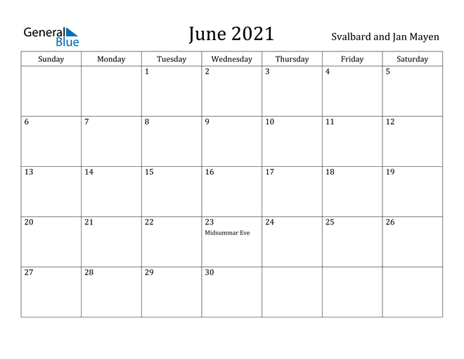 Image of June 2021 Svalbard and Jan Mayen Calendar with Holidays Calendar