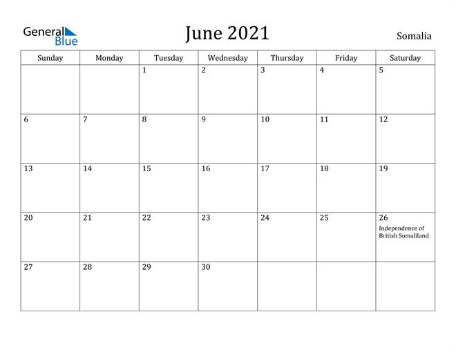Image of June 2021 Somalia Calendar with Holidays Calendar