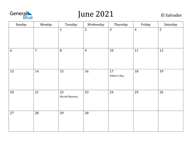 Image of June 2021 El Salvador Calendar with Holidays Calendar