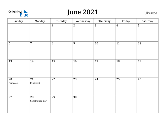 Image of June 2021 Ukraine Calendar with Holidays Calendar