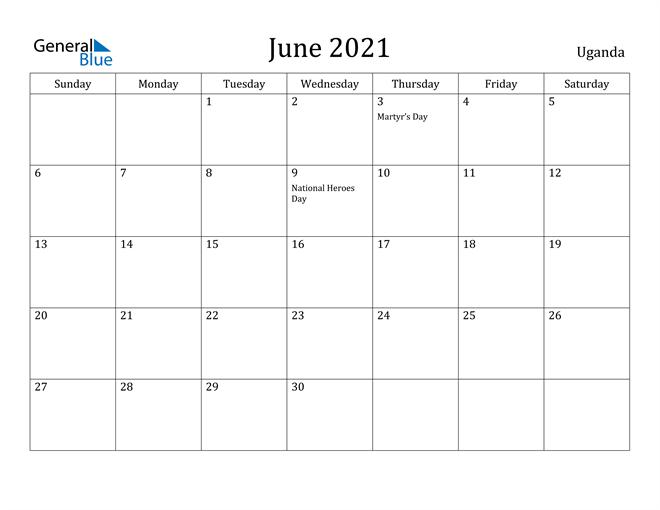 Image of June 2021 Uganda Calendar with Holidays Calendar