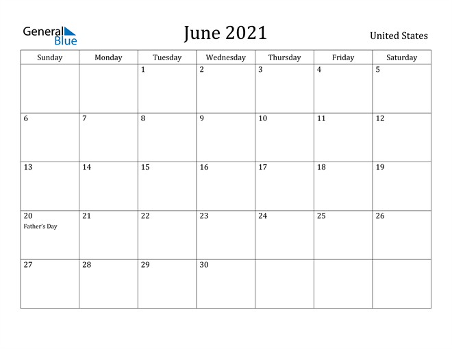 Image of June 2021 United States Calendar with Holidays Calendar