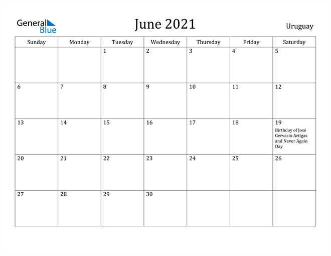 Image of June 2021 Uruguay Calendar with Holidays Calendar