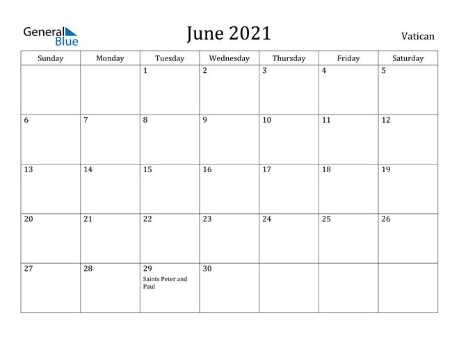 Image of June 2021 Vatican Calendar with Holidays Calendar