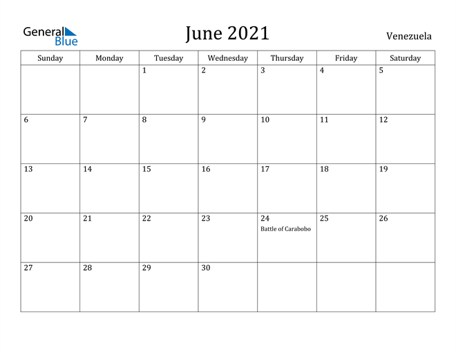 Image of June 2021 Venezuela Calendar with Holidays Calendar