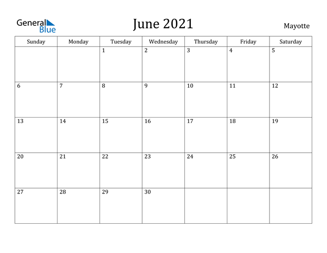 Image of June 2021 Mayotte Calendar with Holidays Calendar