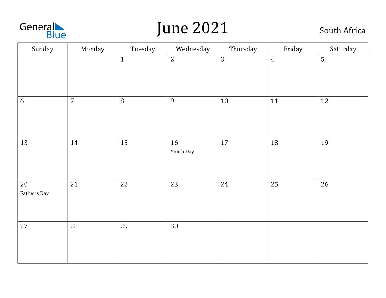 June 2021 Calendar - South Africa