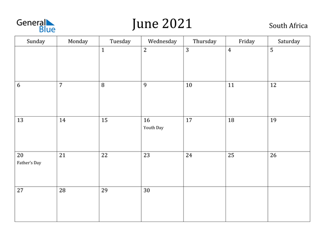 Image of June 2021 South Africa Calendar with Holidays Calendar