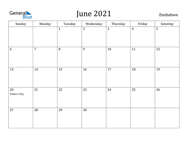 Image of June 2021 Zimbabwe Calendar with Holidays Calendar