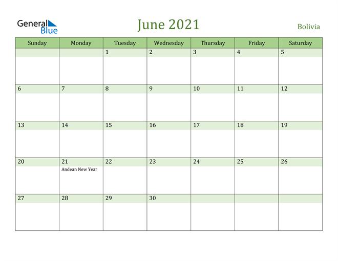 June 2021 Calendar with Bolivia Holidays
