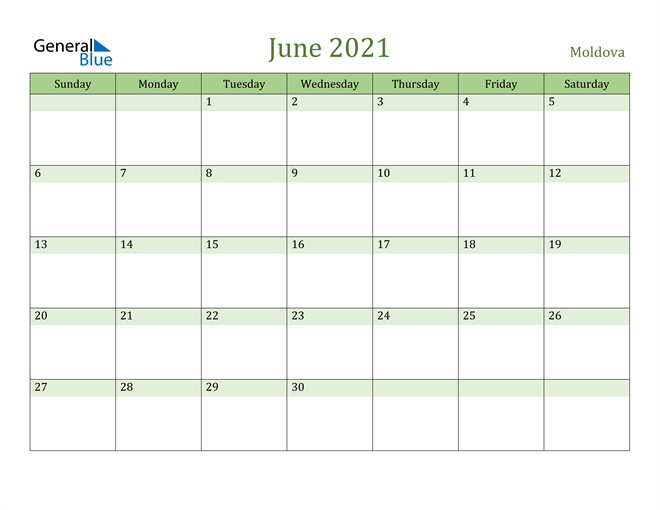 Image of June 2021 Cool and Relaxing Green Calendar Calendar