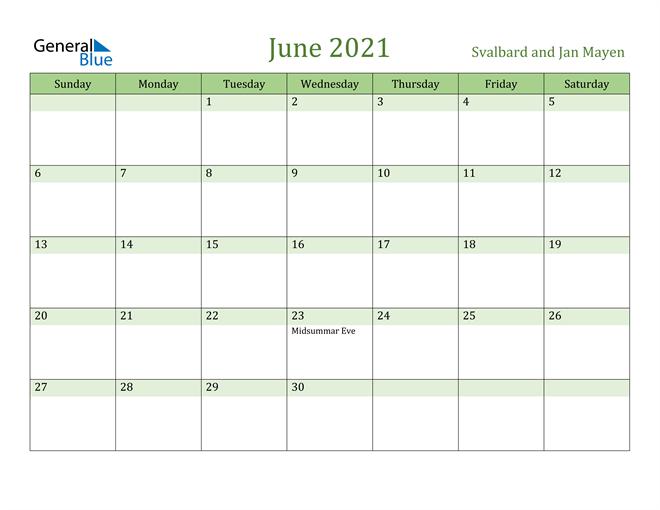 Image of June 2021 Cool and Relaxing Green Calendar Calendar