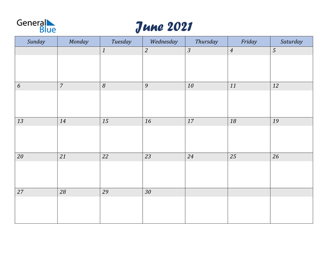 June 2021 Italicized and Cool Blue, A Fun Calendar in PDF, Word and Excel