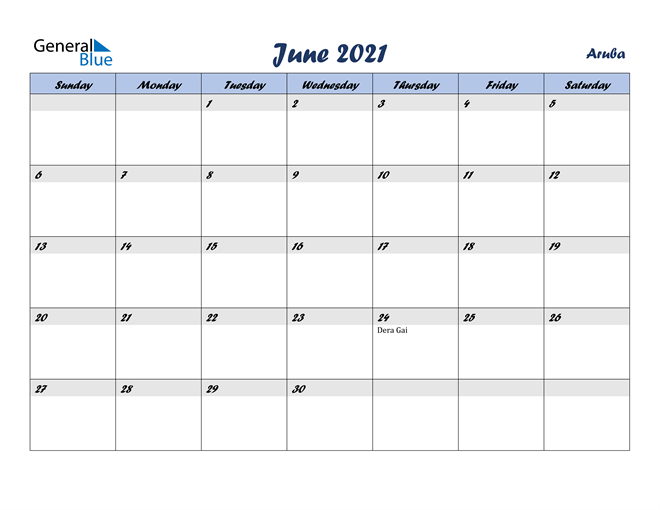Image of June 2021 Italicized and Cool Blue, A Fun Calendar in PDF, Word and Excel Calendar