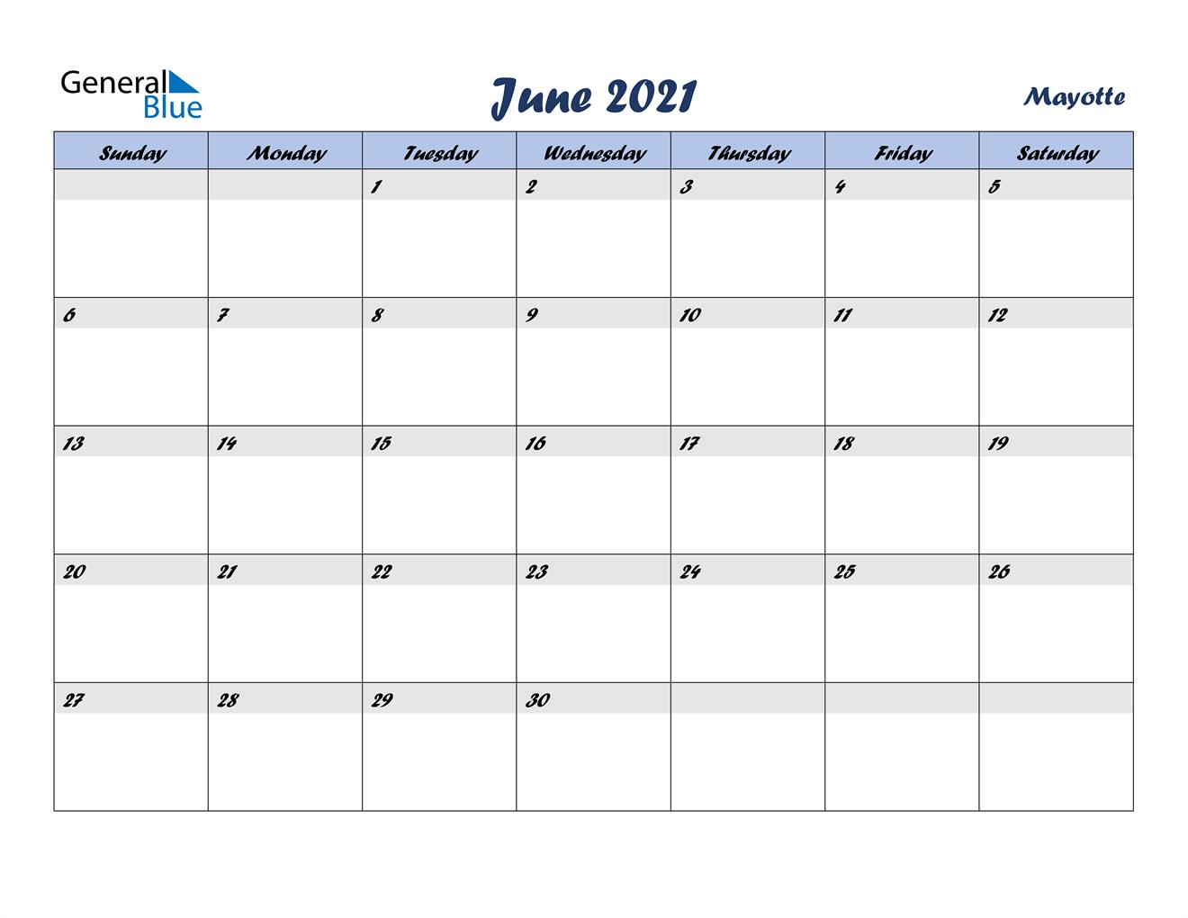 June 2021 Calendar - Mayotte