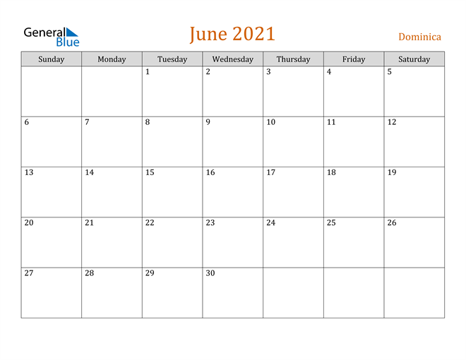 Image of June 2021 Contemporary Orange PDF, Word and Excel Calendar Calendar