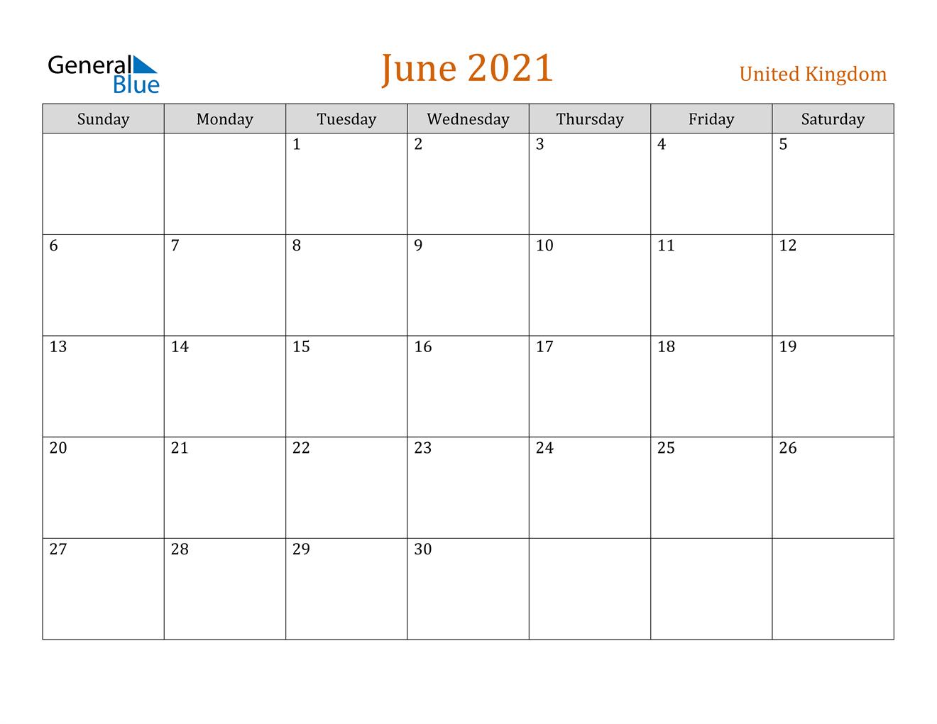 June 2021 Calendar - United Kingdom