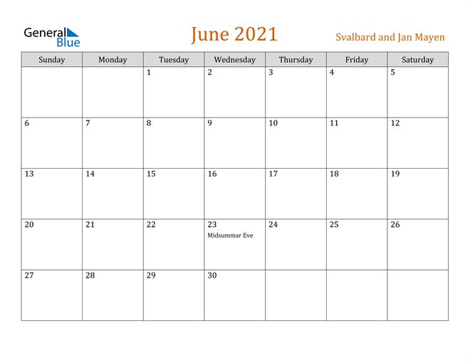 Image of June 2021 Contemporary Orange PDF, Word and Excel Calendar Calendar