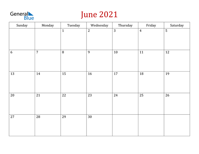 June 2021 Dark and Red Professional Office Calendar