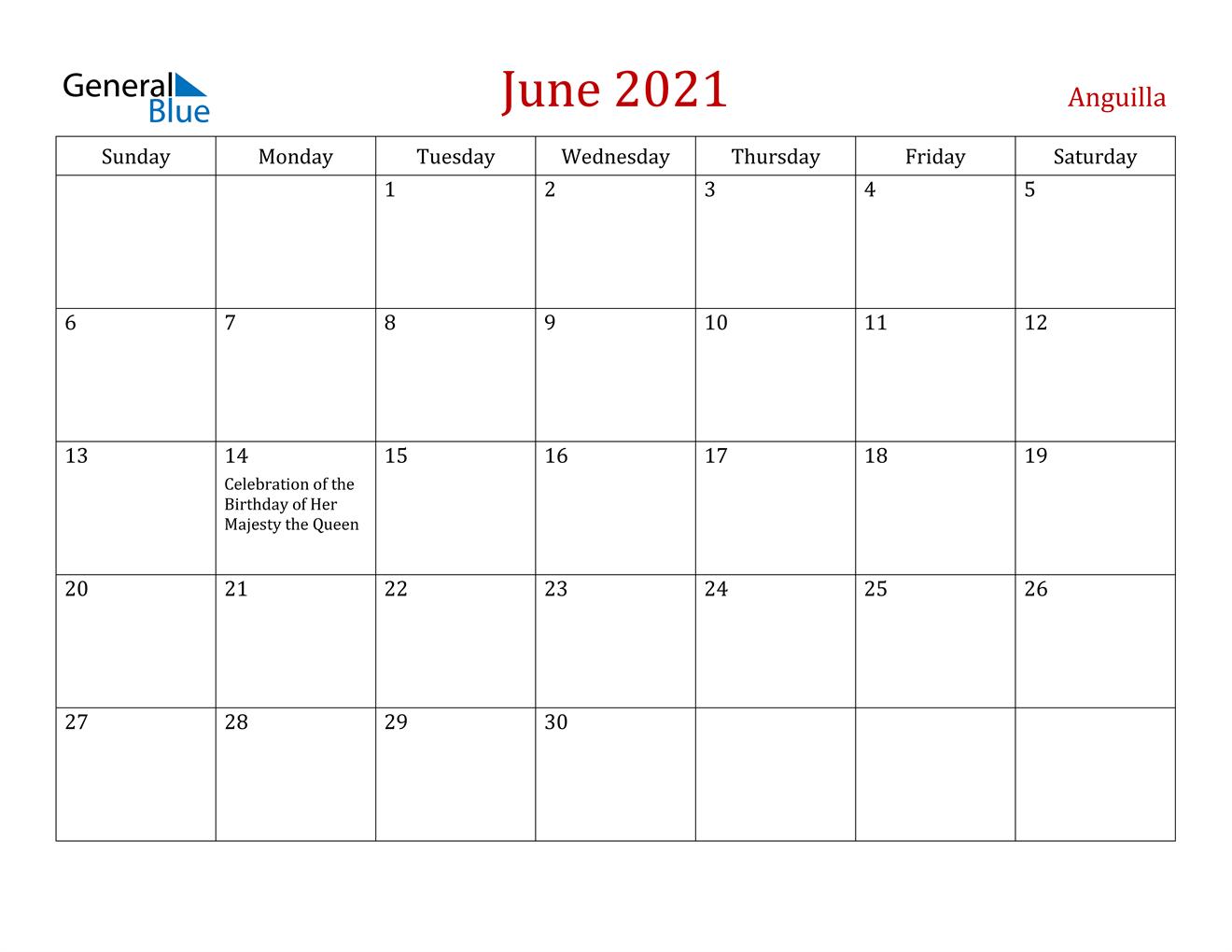 June 2021 Calendar - Anguilla