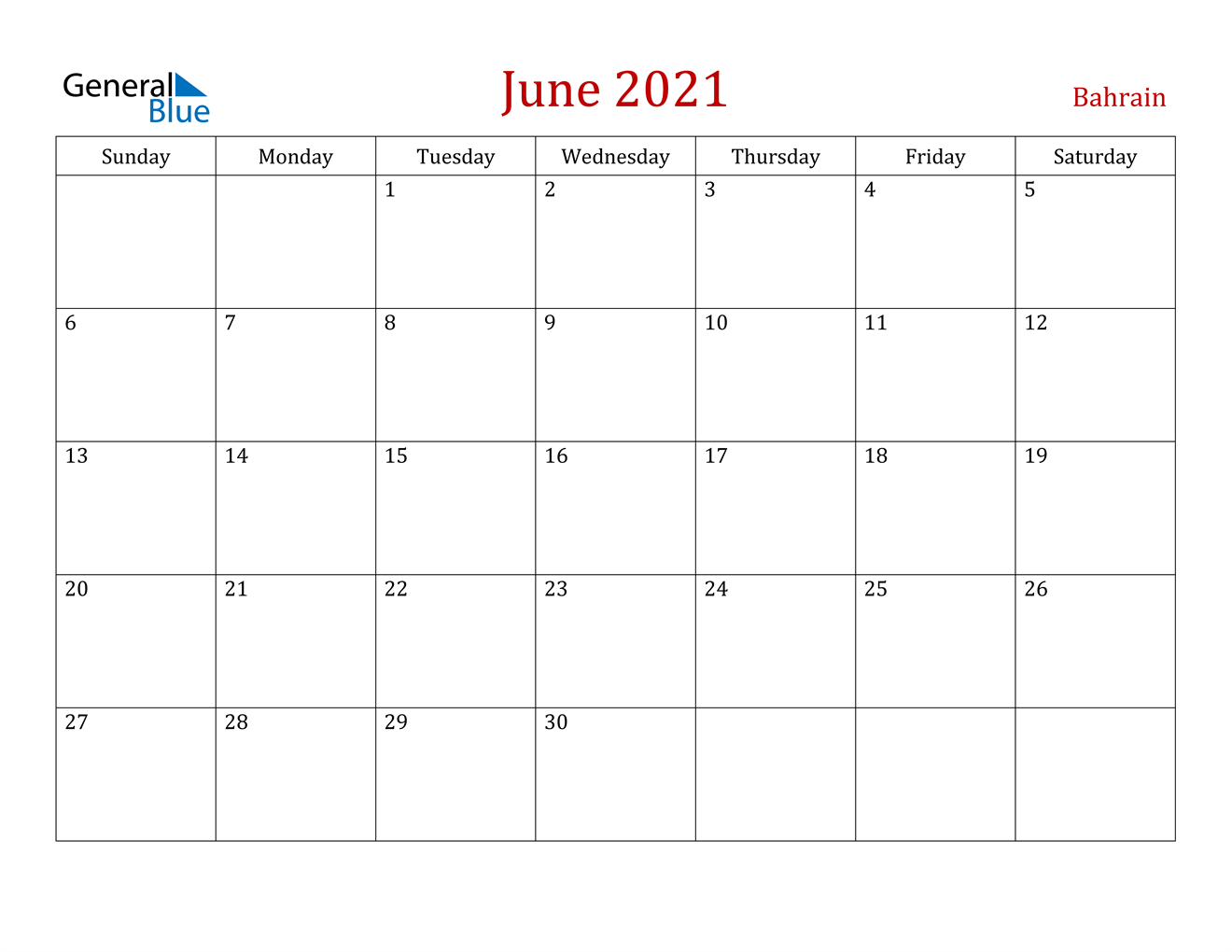 June 2021 Calendar - Bahrain