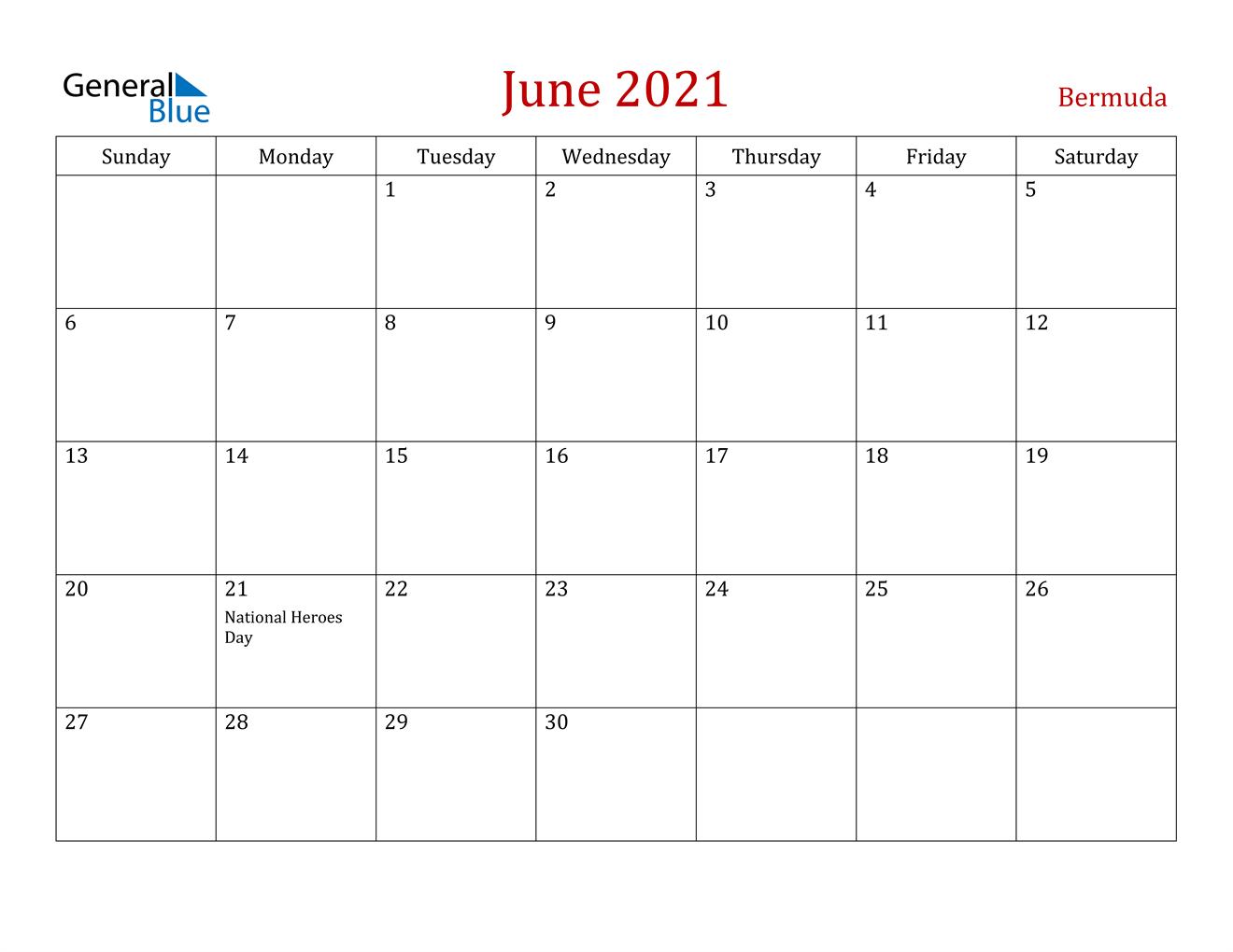 June 2021 Calendar - Bermuda