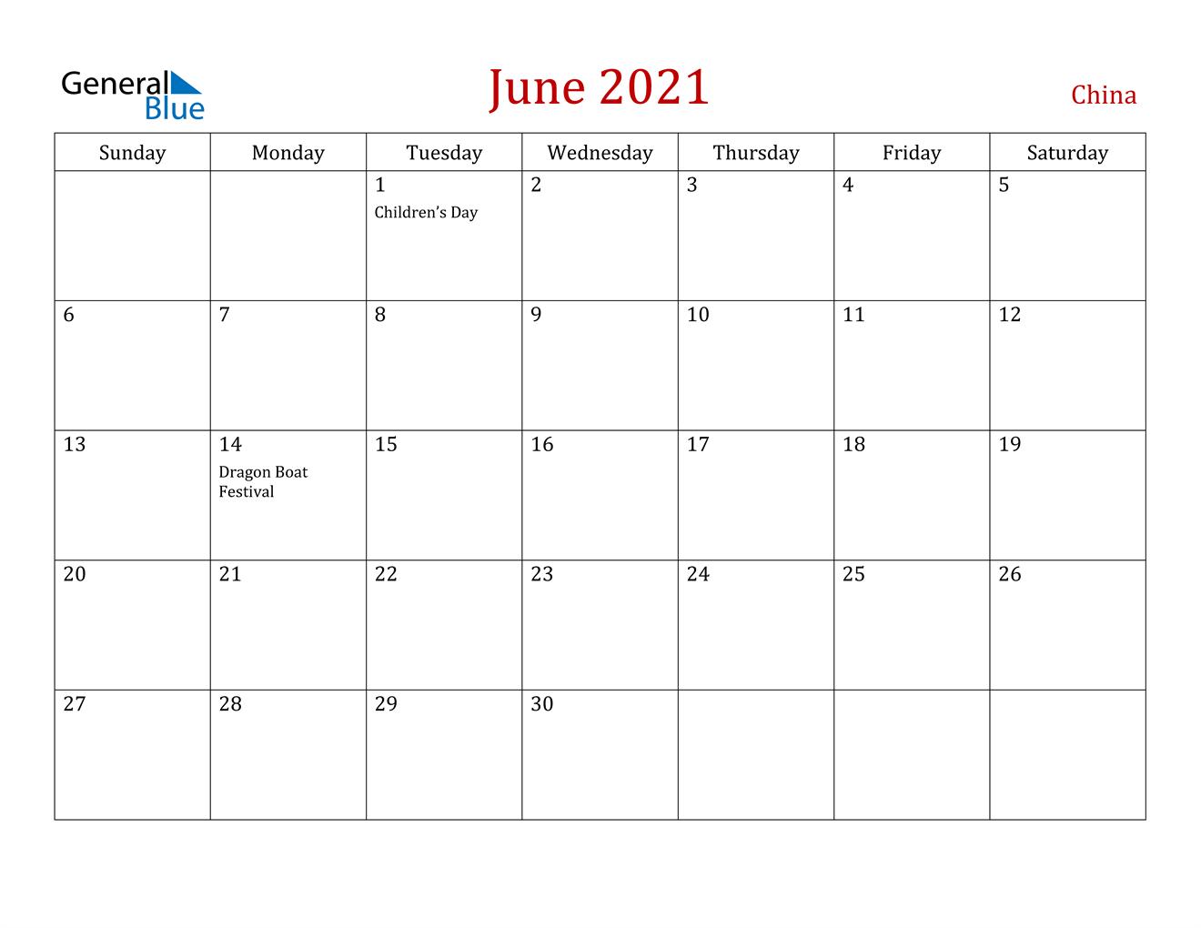 June 2021 Calendar - China