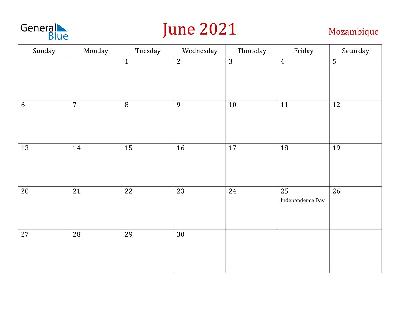 June 2021 Calendar - Mozambique