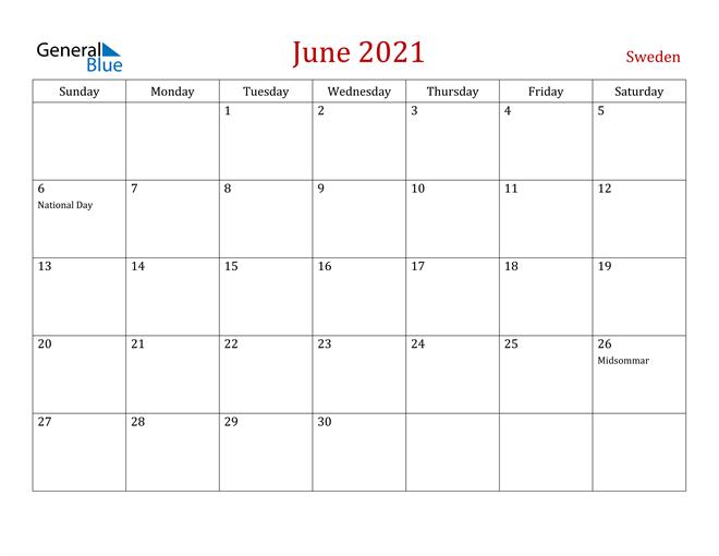 Sweden June 2021 Calendar