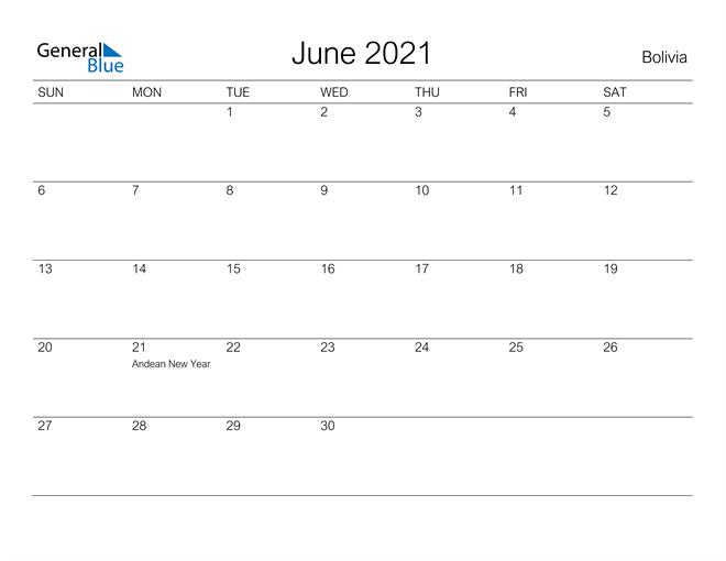 Printable June 2021 Calendar for Bolivia