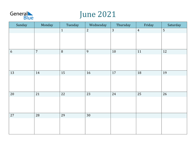 June 2021 Colorful Turquoise Calendar in PDF, Word and Excel