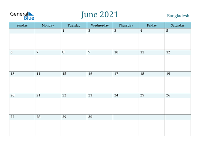 Image of June 2021 Colorful Turquoise Calendar in PDF, Word and Excel Calendar