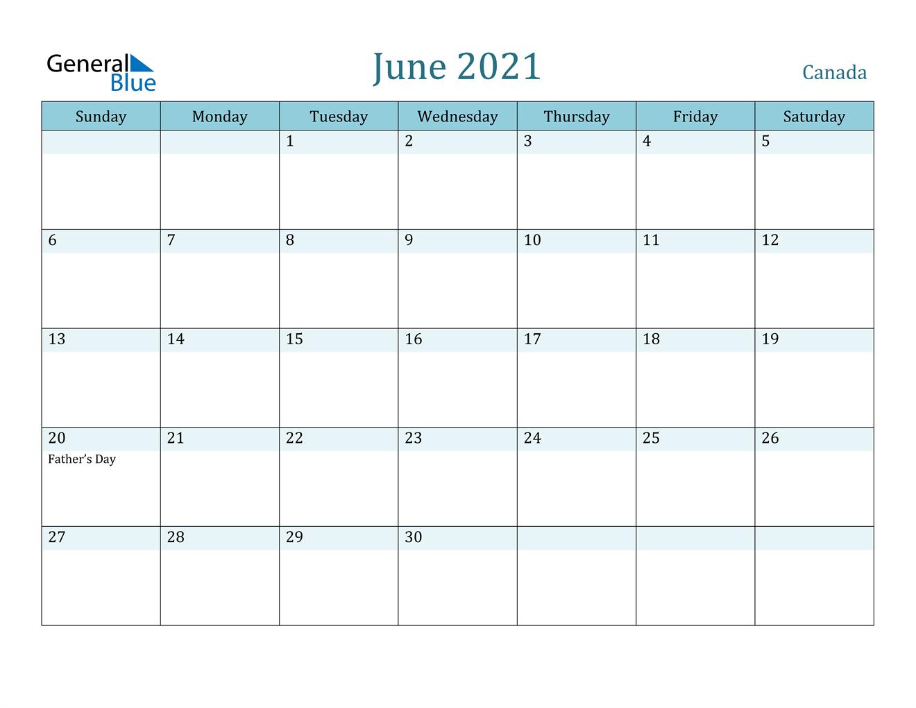June 2021 Calendar - Canada