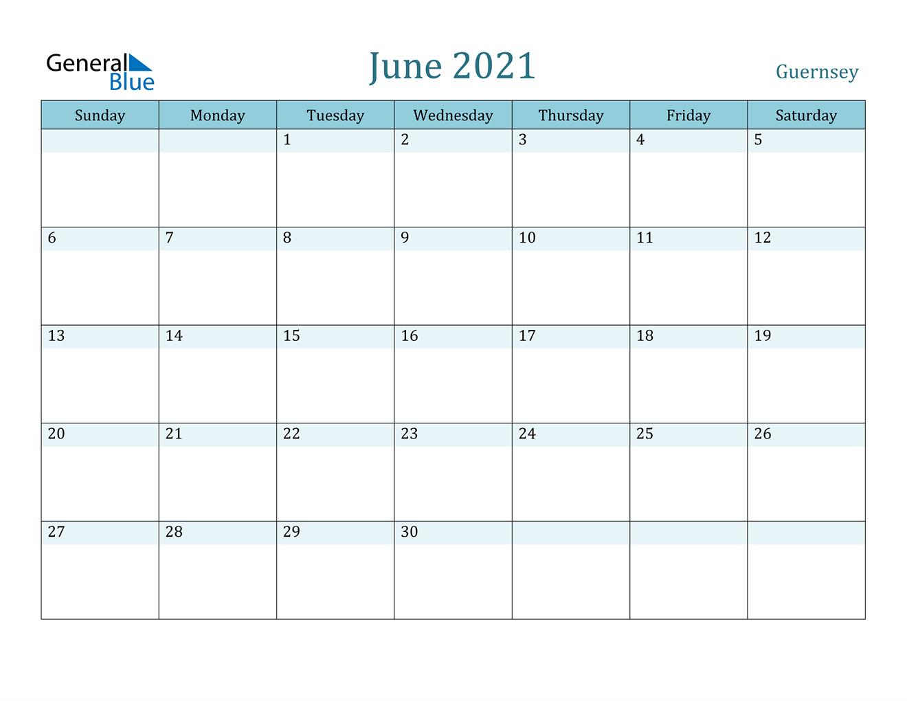 June 2021 Calendar - Guernsey