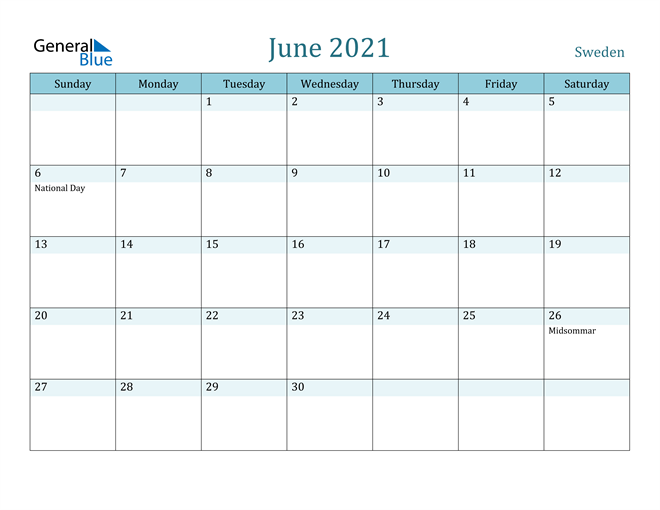 June 2021 Calendar with Holidays in PDF, Word, and Excel